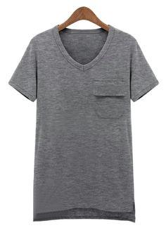 Grey Short Sleeve Pocket Asymmetrical T-Shirt US$24.18
