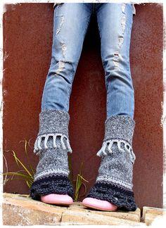 RESERVE . GRAY PIXIE leg warmers Flared Boho Urban Leg by GPyoga, $69.00