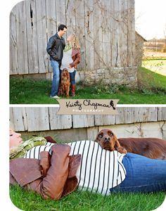 Kristy Chapman Photography - Maternity Portrait with dog Rustic Sunflares