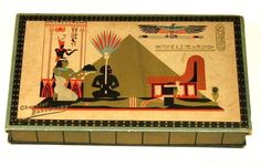 An Art-Deco ancient Egyptian themed chocolate box-lid design with adapted motifs which have been used in original ways! Bensdorp Chocolate Box.
