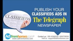 Adfromhomes.com is the popular online advertising agency that helps to book any kind of ads like Telegraph advertisements, Deccan Chronicle Matrimonial Ads, etc in simple steps.