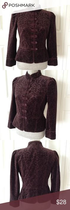 Ann Taylor LOFT Petites Midnight Amethyst Jacket Long-sleeved mandarin collar damask jacket in deep amethyst purple; features fabric-covered buttons, faux pockets and piping detail on sleeve.  100% cotton; lining 100% polyester. LOFT Jackets & Coats
