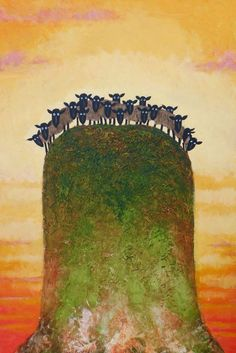 Threes a Crowd - Toni Goffe, Whimsical Sheep Art Illustrations, Illustration Art, Musk Ox, Cute Goats, Sheep Art, Sheep And Lamb, Hand Painted Canvas, Naive Art, Whimsical Art