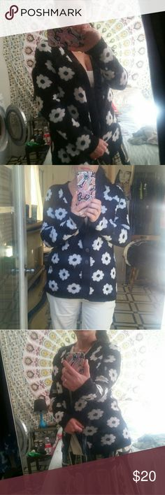 Flower cardigan Adorable flower cardigan brand new condition.black with white flowers button up cardigan. Sweaters