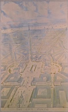 Harold Chalton Bradshaw, Bird's-Eye Perspective of a plan for the City Centre or Modern Forum, 1914, pencil & watercolor heightened w white