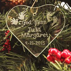 Personalized God Bless Baby Glass Ornament,  $19.95. Perfect for Christmas babies!
