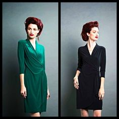 Classic faux side wrap dress. Great lightweight knit, washable fabric for traveling, holiday parties, work, church, weddings, showers, etc, .....basically your 'forever go-to dress for all events' ...available to you as a 'LBD' or a gorgeous emerald green. $88 XS-XL. The ruching at the side makes for a very 'forgiving' dress. If your size is no longer available, we can order.