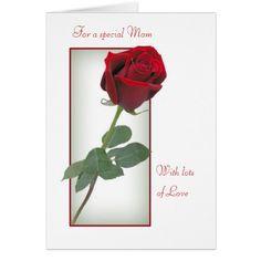 Valentine card for Mom - Red rose