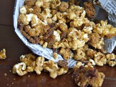 Bacon Bourbon Caramel Popcorn. I've made this and it is AWESOME! I even did a batch with a chocolate drizzle. Heaven!!
