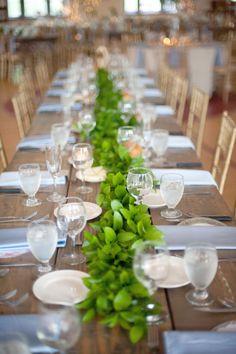 40 Stunning Lush Greenery Wedding Table Runners – Weddingomania throughout Greenery Wedding Centerpiece Ideas Green Garland, Leaf Garland, Floral Garland, Table Garland, Reception Decorations, Wedding Centerpieces, Table Decorations, Wedding Receptions, Green Centerpieces