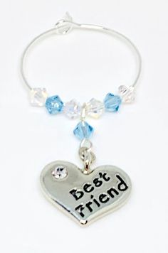 Silver plated heart charm engraved with Best Friend set with Aquamarine and Clear Swarovski Crystals make this gorgeous wine glass charm Aquamarine is the birthstone colour for March. Swarovski Gifts, Swarovski Crystals, Personalised Gifts, Personalized Items, Friends Set, Wine Glass Charms, Organza Bags, Heart Charm, Birthstones