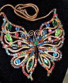 RARE JULIANA HUGE d e d e butterfly necklace xl by DIVINEFIND2013, $577.00