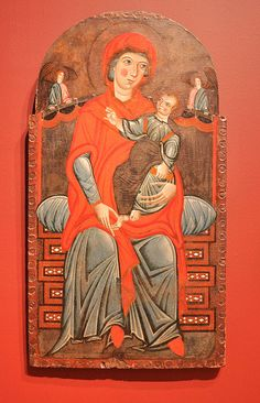 Meliore di Jacopo:  The Madonna and Child with Two Angels  (ca. 1275, tempera on canvas on wood, Currier Museum)