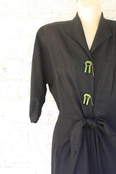 1930s Black Dress / Vintage Mourning Dress / Vintage 30s Black