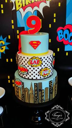 Tanya's Take On Cake, Vintage Superhero cake. Calling all superheros,  superman, skyline
