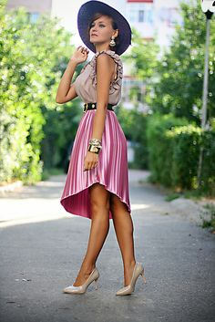 Discover this look wearing Hot Pink Pleated River Island Skirts, Nude OASAP Shoes - Pink pleats by Chaba styled for Chic, Everyday in the Summer Pleated Skirt Outfit, Skirt Outfits, Spring Summer Fashion, Spring Outfits, River Island Skirts, Hot Pink Skirt, Outfit Posts, Outfit Ideas, Vintage Outfits