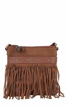 Suede Cross Body Bag with Fringe