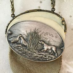 Antique Hunting Dog and Game Bird Coin Purse by StoryologyDesign