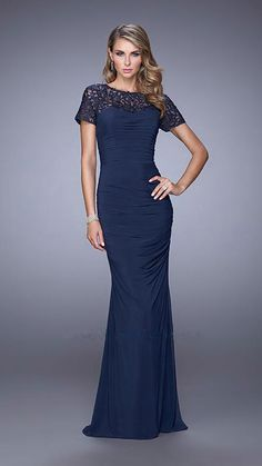 Floor length soft jersey dress with high beaded neck and capped sleeves Product Code: 78286