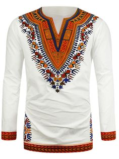 Hot New Dashiki Traditional African National Style Men's Long Sleeve Ethnic Printing T-Shirts 2017 Roupas Africanas Para Homens African Dresses For Women, African Men Fashion, African Wear, Mens Fashion, African Style, African Attire, Fashion Outfits, Dashiki For Men, Style Africain