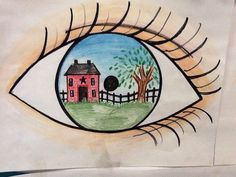 Color Pencil Drawing Ideas eye reflection using sharpies, color pencils and crayons for my elementary students as an example. House and tree. 6th Grade Art, Ecole Art, Art Lessons Elementary, Art Education Lessons, School Art Projects, Middle School Art, High School, Spring Art, Art Classroom