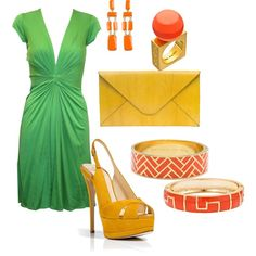 summery orange and green, created by lisapykkonen on Polyvore