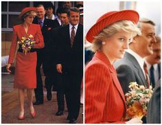 May 2 1986  After the ribbon cutting ceremony was performed they went inside the pavilion to view the exhibits.   Diana wore a bright red and navy striped coat-dress by designer Catherine Walker, worn with a matching fabric Breton-style hat by milliner Graham Smith for Kangol.