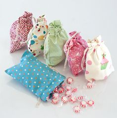 fabric treat bags -  Thinking of making these bigger for all of the puzzles.