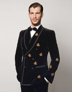 Dolce and Gabbana Velvet Martini Suit With Bee Embriodery