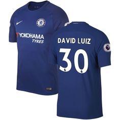 David Luiz Chelsea Nike 2017/18 Home Vapor Match Authentic Jersey - Blue