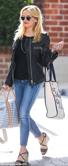 Southern blonde: Witherspoon boosted her 5ft1in frame with wedge sandals, which she wore w...