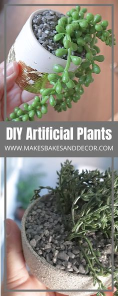 DIY Artificial Plants - Makes, Bakes and Decor Stone Spray Paint, White Spray Paint, Diy Craft Projects, Craft Tutorials, Adult Crafts, Crafts For Kids, Life On A Budget, White Plants, Bathroom Plants
