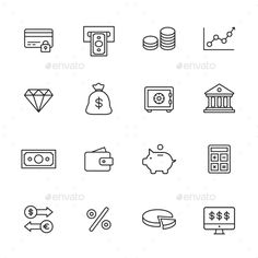 Finance Line Icons — JPG Image #diamond #banking • Available here → https://graphicriver.net/item/finance-line-icons/15222023?ref=pxcr