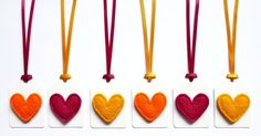 Felt Heart Christmas Gift Tags / Name Tags with Satin Ribbon Ties in Pink, Yellow & Orange (Set of Christmas Bunting, Felt Christmas Decorations, Christmas Gift Tags, Christmas Paper, Felt Hearts, Handmade Felt, Card Tags, Favor Tags, Card Making