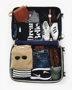 packing suitcase, fall essentials, nike sneakers, adidas superstars, chloe crossbody bag, black and brown fall essentials, packing inspiration, travelgram, travel, packing essentials