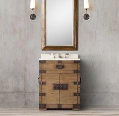 Heirloom Silver-Chest Powder Room Vanity - also comes in grey oak Bathroom Oak Bathroom, Bathroom Ideas, Bathrooms, Burlington House, Powder Room Vanity, Wooden Trunks, Grey Oak, Vanity Sink, Home Reno