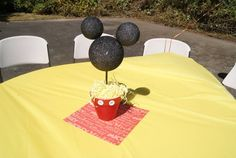 Mickey Mouse centerpiece.