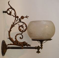 Victorian Gas Sconce With Bronze Sea Serpent and Scenic Shade