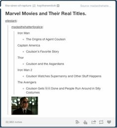 Marvel movies and their real titles-you go Agent Phil Coulson!