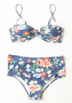 Blue Jean Bathing Swimsuit Top. Flaunt a dash of country charm at the shore in this floral bikini. #blue #modcloth