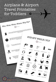 Printables to help with entertaining toddlers on an airplane, in the airport, and on layovers. Games, questions, and learning activities.