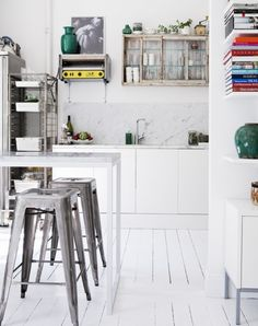 Kitchen:White Place Room With Chasebook Small Kitchen Area With Dinning Table Wooden Chase At White Wall Kitchen Island And Small Cabinet Sh...
