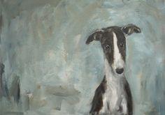 Young galgo, acrylic on canvas, 40 x 80 cm, www.arte-canino.de