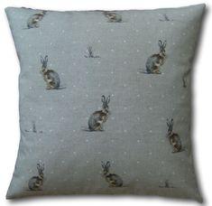 Pom Pom Bumble Bee Cushion Cover Grey Vintage Linen Look Fryetts Fabric Handmade