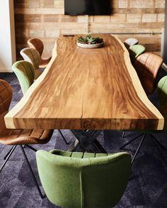 Suar boomstamtafels uit 1 deel 8 cm dik - LOVD Interiors B. Dinning Table, Tables, Interiors, Inspiration, Furniture, Home Decor, Diner Decor, Homemade, Mesas