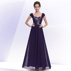 Ever Pretty Purple Long Evening Prom Formal Mother Of Bride Party Dress 08571