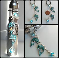 Blue rhinestone covered baby dolphins with wired glass bead bubbles vape charm