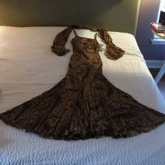 """100% Silk beaded gown with shawl. Never worn. Silk chiffon, fully lined.  From neck to hem approximately 60"""".  Straps are adjustable.  The mermaid swirl will make you feel like a princess.  Victoria Royal, designed by Mary Bays. Dresses Maxi"""