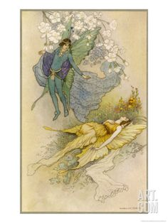 A Midsummer Night's Dream, Act II Scene II: Oberon Places a Spell on Titania Giclee Print by Warwick Goble at Art.com