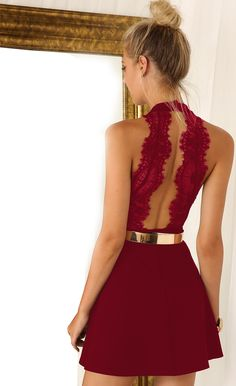 Shop Wine Red Sleeveless With Lace Backless Dress online. Sheinside offers Wine Red Sleeveless With Lace Backless Dress & more to fit your fashionable needs. Free Shipping Worldwide!